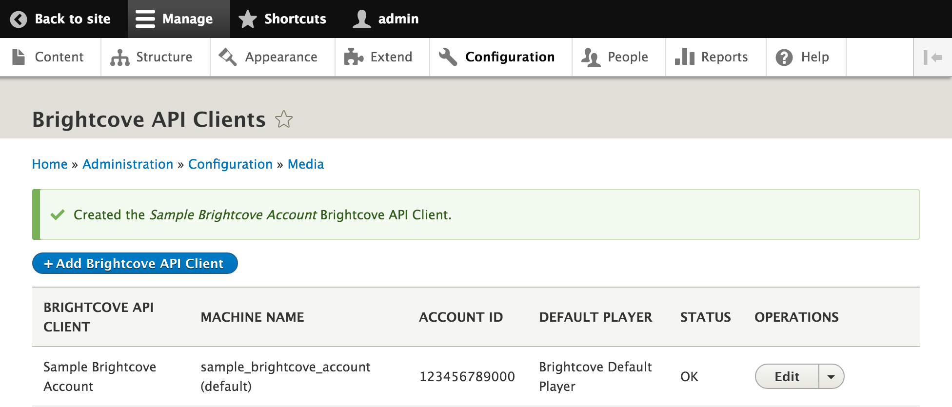 Brightcove API Clients successfully added new client