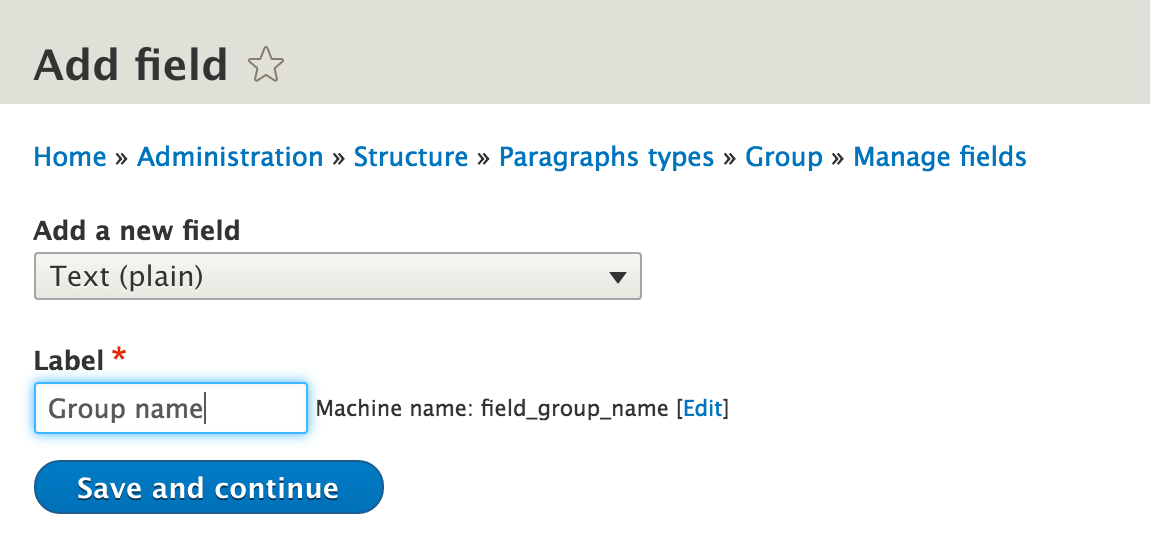 Group name field in group paragraph type