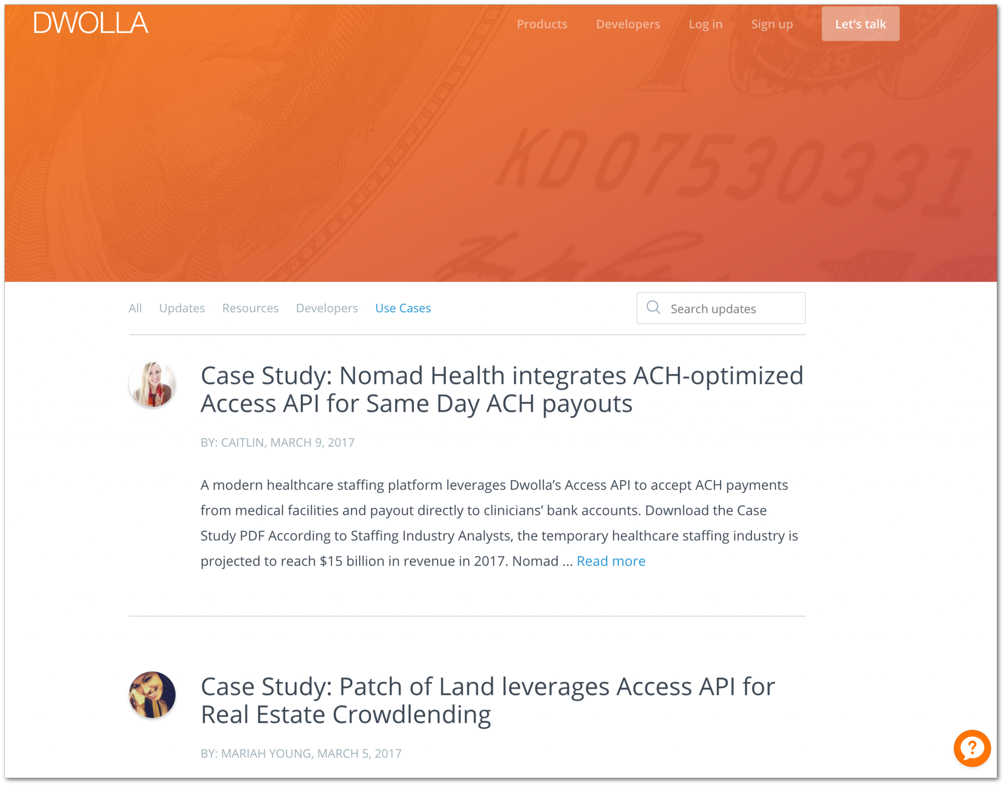 Use cases or case studies (Dwolla blog)