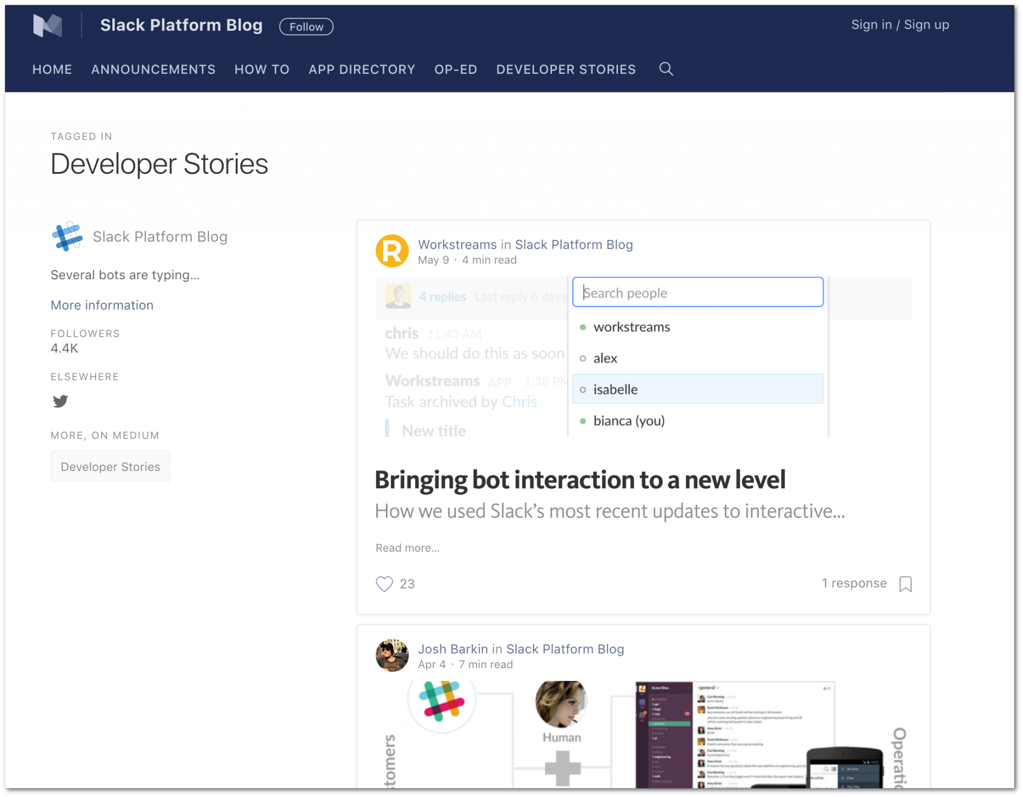Developer Stories (Slack Blog)
