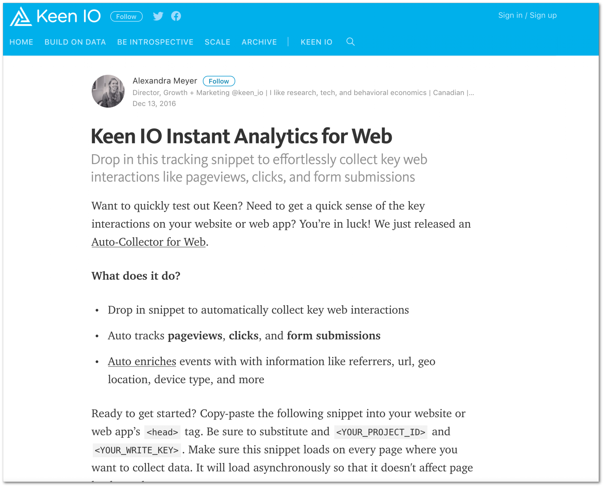 Test Keen IO (Keen IO blog)