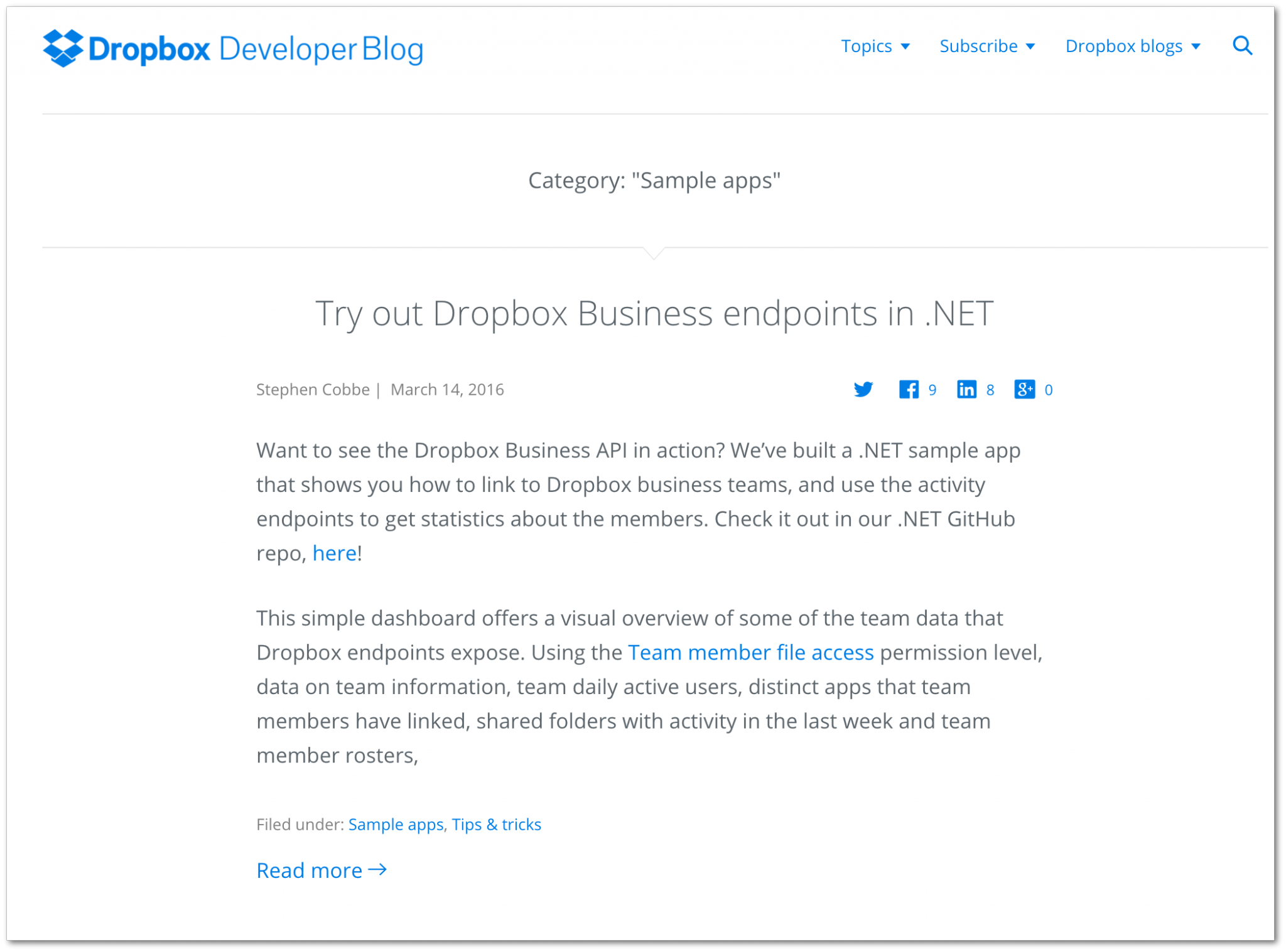 Example of a sample app article (Dropbox developer blog)