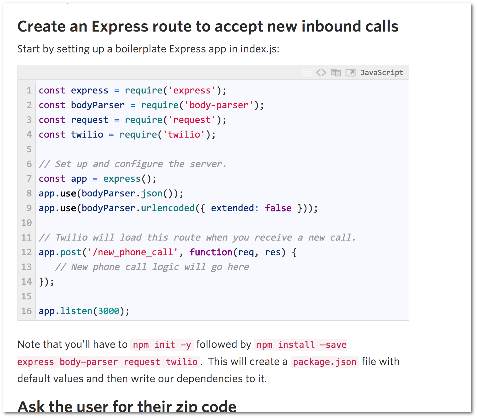 Example of an article with code snippets (Twilio blog)