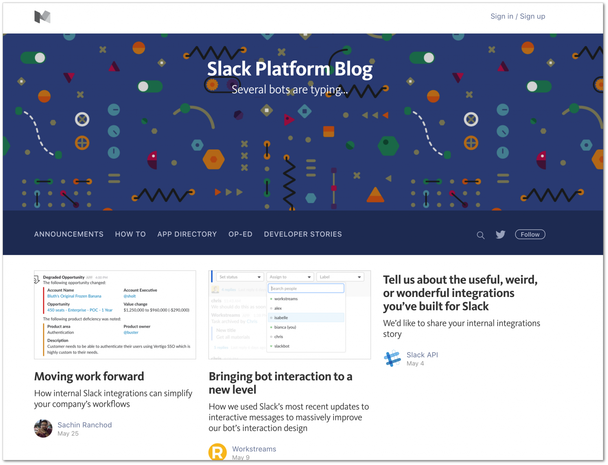 Blog on Medium (Slack blog)