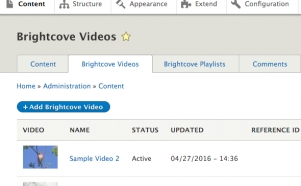 editorial interface in Drupal 8 for the Brightcove video connect module